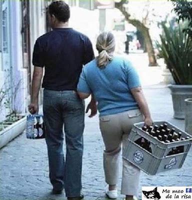 mujer fuerte ,caja cerveza , hombre pack seis