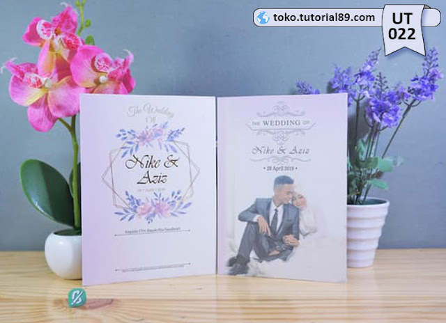 Undangan pernikahan UT022 - Lipat 2 dengan Amplop +free kartu ucapan terima kasih