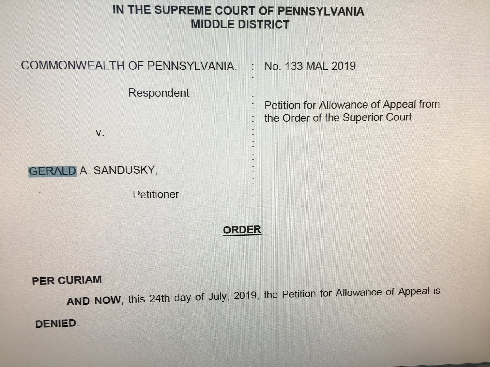 Second Mile Sandusky Scandal: 2019