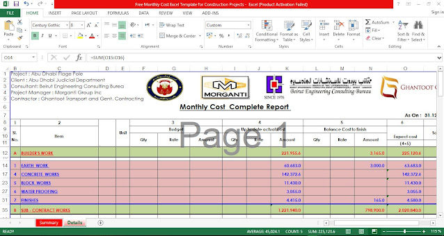 Free Monthly Cost Excel Template for Construction Projects