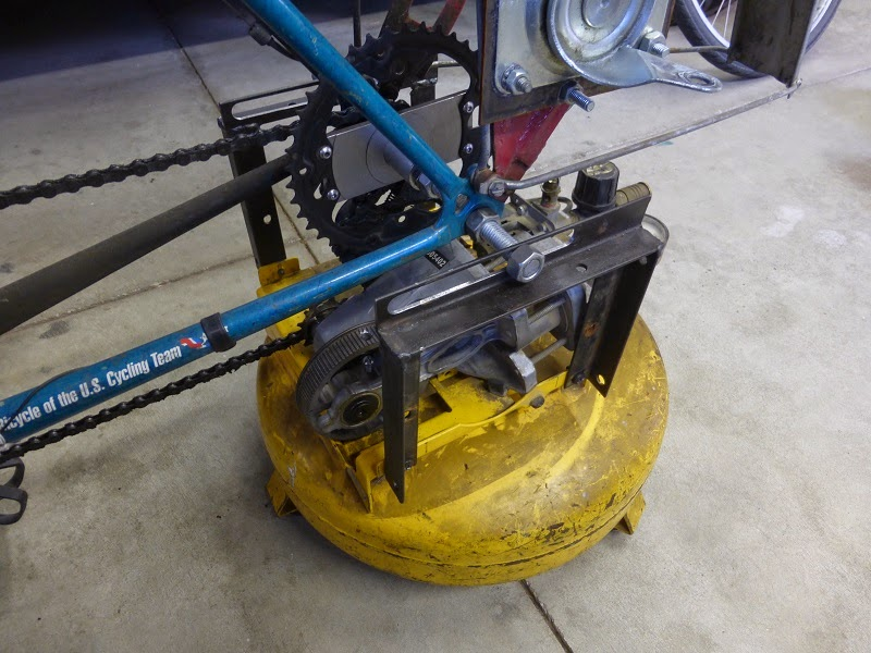 bicycle mounted on air compressor
