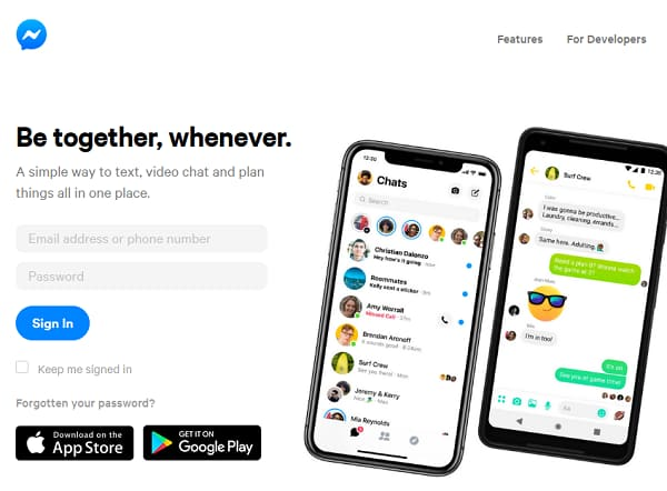 Faceook Messanger website page