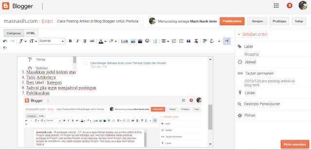 Tampilan laman blogger untuk memposting artikel