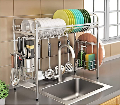 KURTZY 304 Stainless Steel Over The Sink Rack for Kitchen, Dish Drainer Storage and Utensils Holder