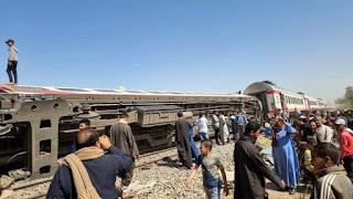 Egypt train crash حادث قطار سوهاج