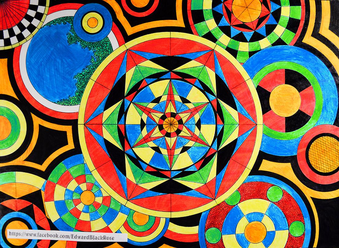 edward black rose geometric drawings
