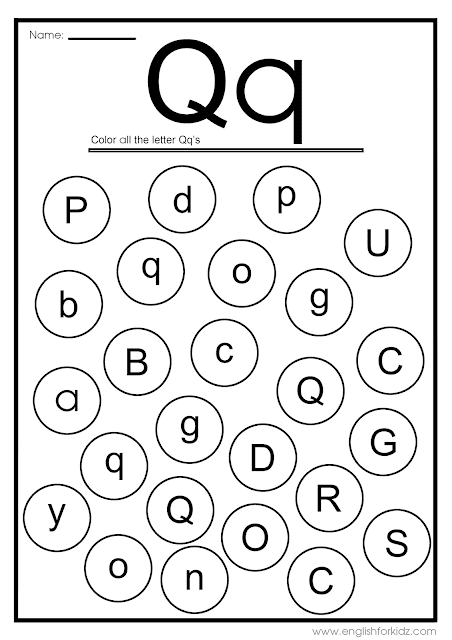 Find letter Q worksheet -- printable ESL materials to teach English alphabet