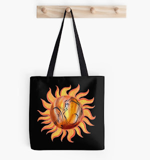 Watercolor Sun Paining by Irina Sztukowski on tote bag