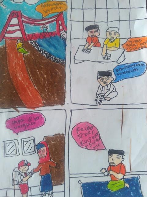 contoh hasil gambar komik peristiwa pendek tentang hak dan kewajiban karya anak kelas V SD
