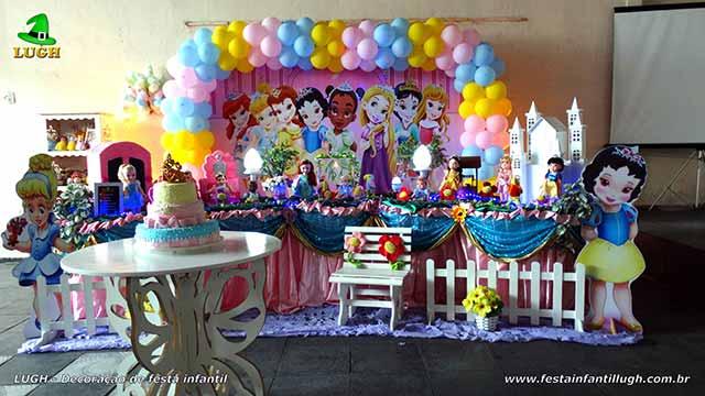 Decoração de festa infantil Princesas Baby Disney - Mesa de aniversário tradicional luxo
