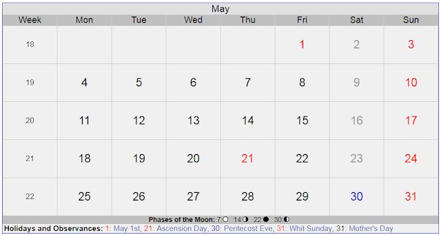 Calendar for May 2020 Sweden