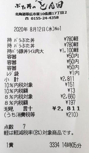 ぶた丼のとん田 2020/8/12 のレシート