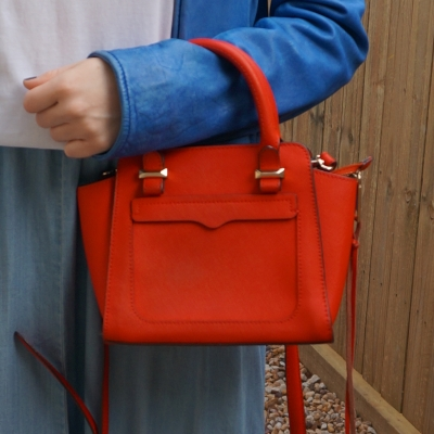 Rebecca Minkoff micro Avery tote bag in red with cobalt jacket and chambray skirt | away from the blue