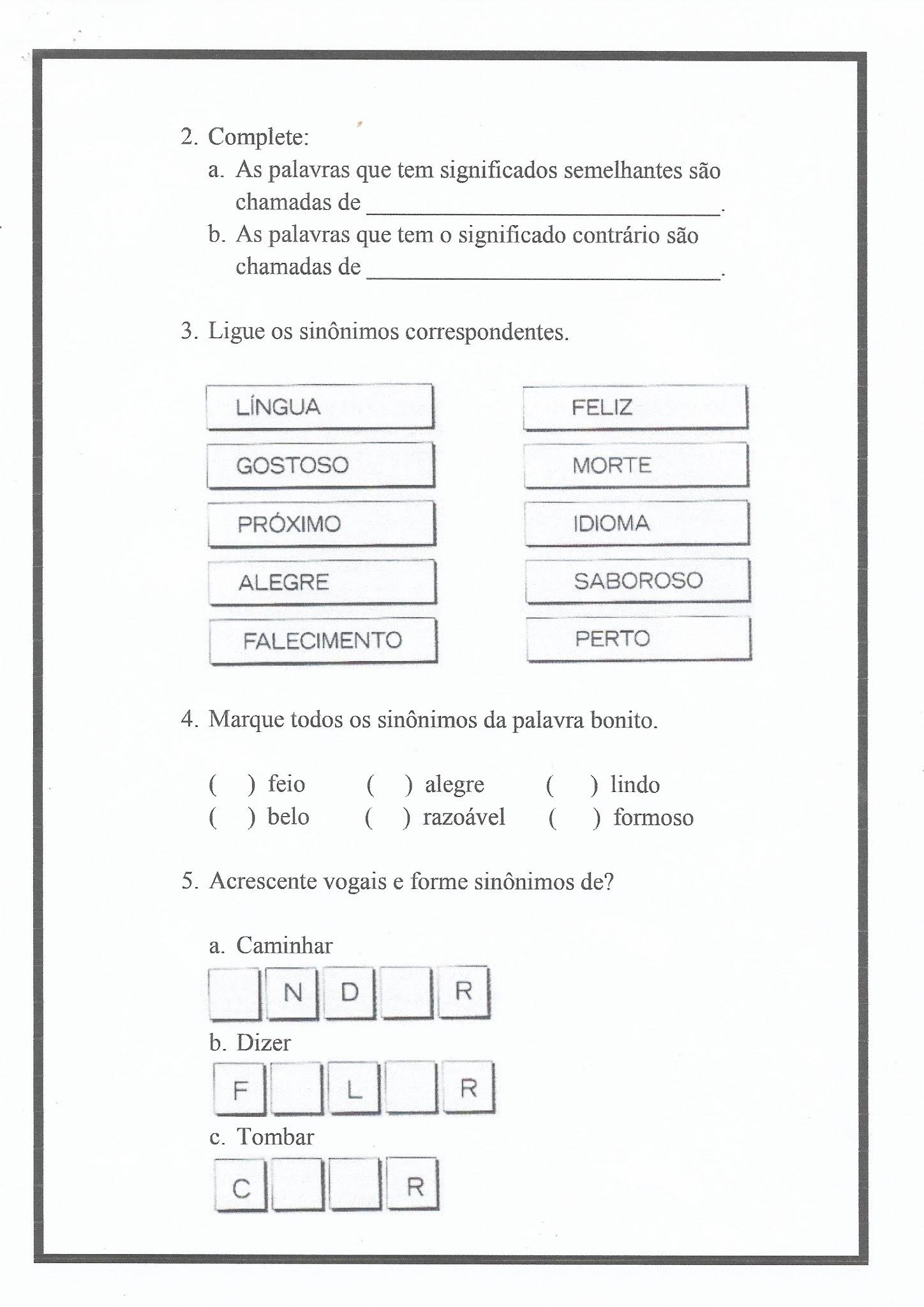Atividade de Português: fabula, sinônimo e antônimo