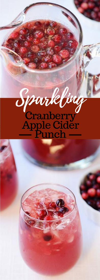 SPARKLING CRANBERRY APPLE CIDER PUNCH #cocktail #drink