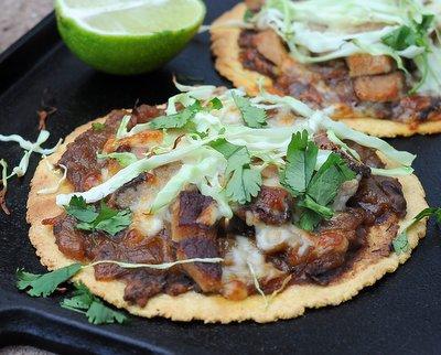 Oaxaca Tlayuda (Mexican Flat Tacos) ♥ KitchenParade.com, easy, healthy build-your-own crispy baked tortillas.