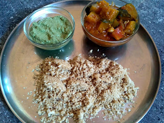 Sorghum flour sweet puttu, Pumpkin curry, Curry leaves chutney