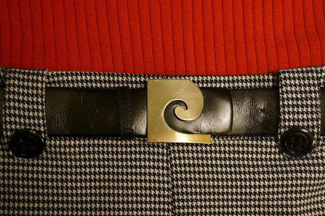 Vintage Pierre Cardin belt 1960s 60s mod houndstooth black white red