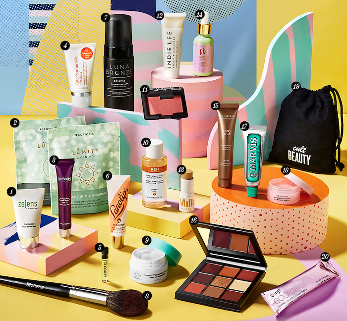 The contents of the Cult Beauty Summer 2019 Goody Bag, a gift with purchase that is available worldwide.