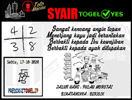 Syair Togel Yes Toto Macau Sabtu 17 Oktober 2020