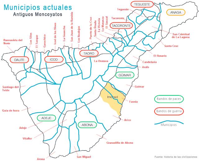 MENCEYATOS Y MUNICIPIOS ACTUALES DE TENERIFE