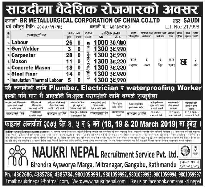 Jobs in Saudi Arabia for Nepali, salary Rs 39,220