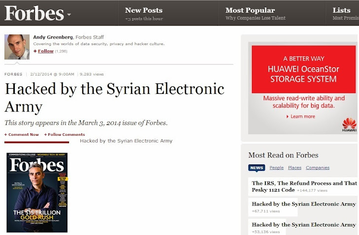 Forbes Hacked by Syrian Electronic Army; Website and Twitter accounts Compromised