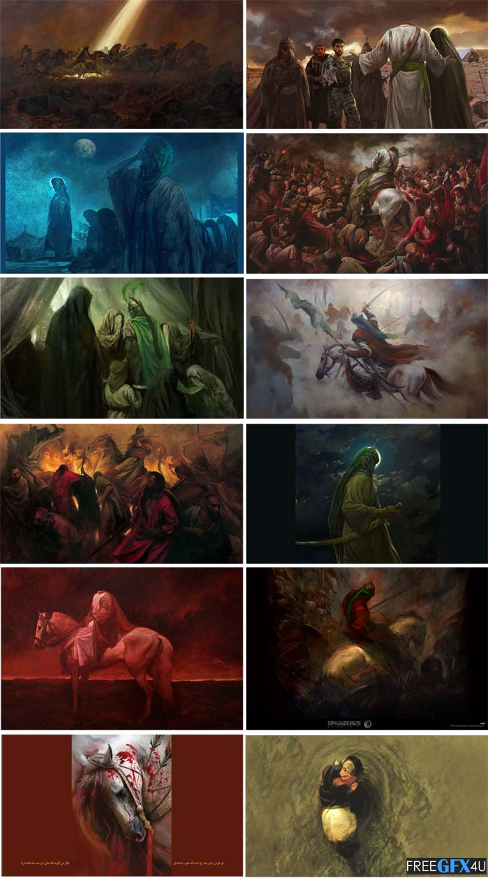 Muharram Ashura Hosseini Paintings Theme