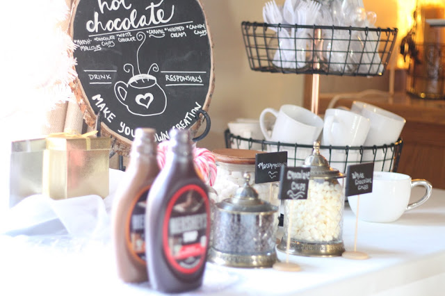 hot cocoa/hot chocolate bar for bridal shower baby shower or holiday party