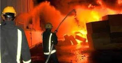حريق بمخزن ادوية, مستشفى الهلال, التامين الصحى, سوهاج,
