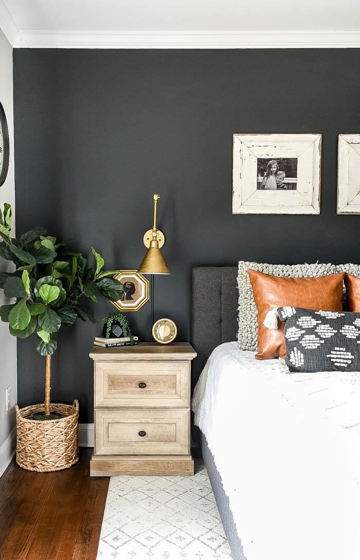 High contrast, modern farmhouse bedroom decor
