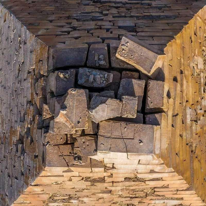 Photo from the top view of the Egyptian pyramid of Khafre