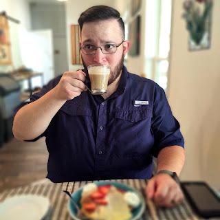 David enjoying the Cafe con Leche experiment