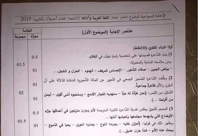 التصحيح الوزاري الرسمي اللغة العربية شعبة لغات أجنبية بكالوريا 2019