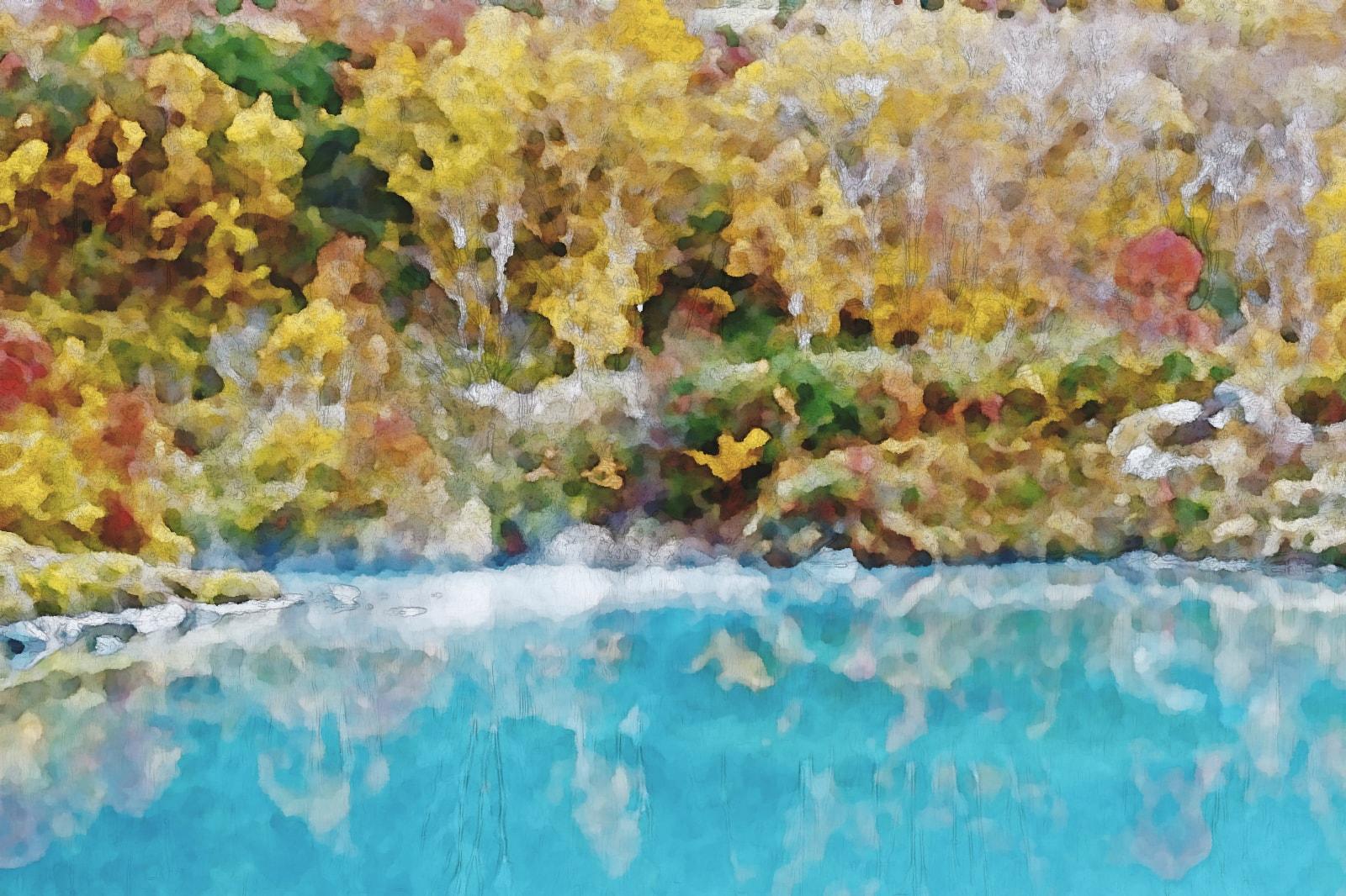 水彩画の地獄沼の紅葉