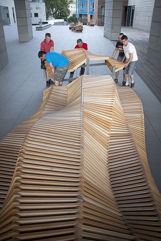 Ławka miejska systemowa nowoczesna drewniana