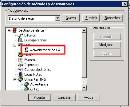 Configuración del destinatario terminada