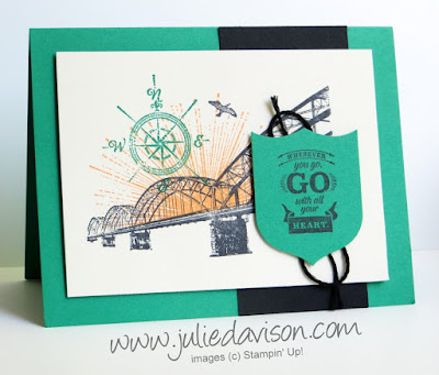 Stampin' Up! Wherever You Go Collage Masculine card for retirement, graduation #stampinup www.juliedavison.com