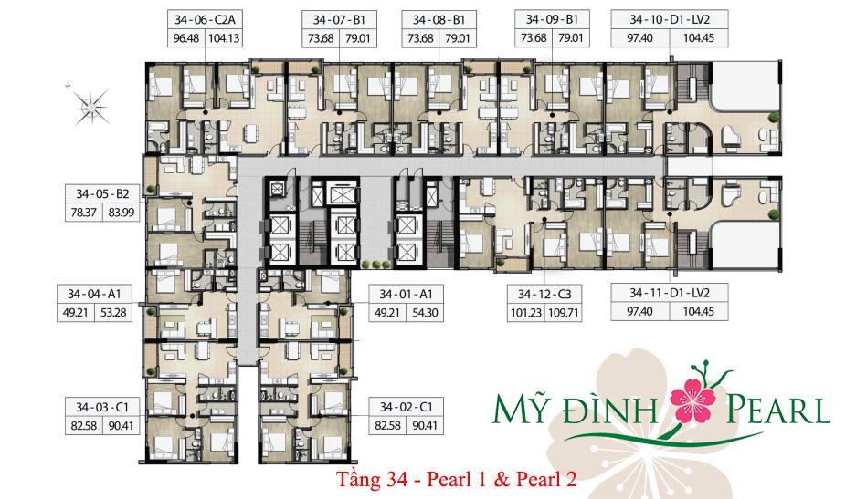 Mặt bằng điển hình tầng 34 tháp Pearl 1, Pearl 2