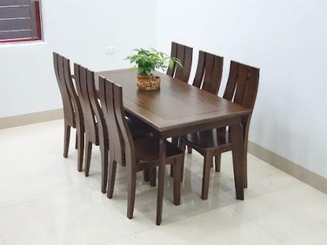 Bàn ghế ăn gỗ óc chó 6 ghế