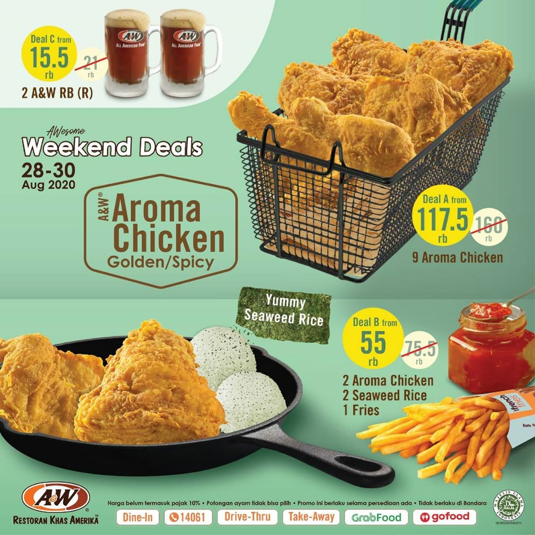 A&W Promo Weekend Deals 28 - 30 August 2020*