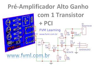 Pré-amplificador de audio de alto ganho com 1 transistor + PCI