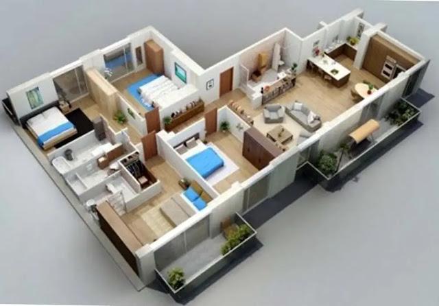 Denah Rumah Minimalis Type 36 dengan Ruangan Mungil dan Fungsional