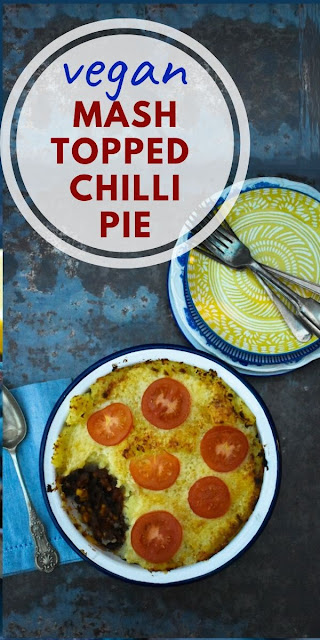 Mash Topped Chilli Pie is a comforting pie that's a popular family dish that can be batch cooked and frozen. #chillipie #chillibake #veganchilli #veganpie #veganbake #mashtoppedpie
