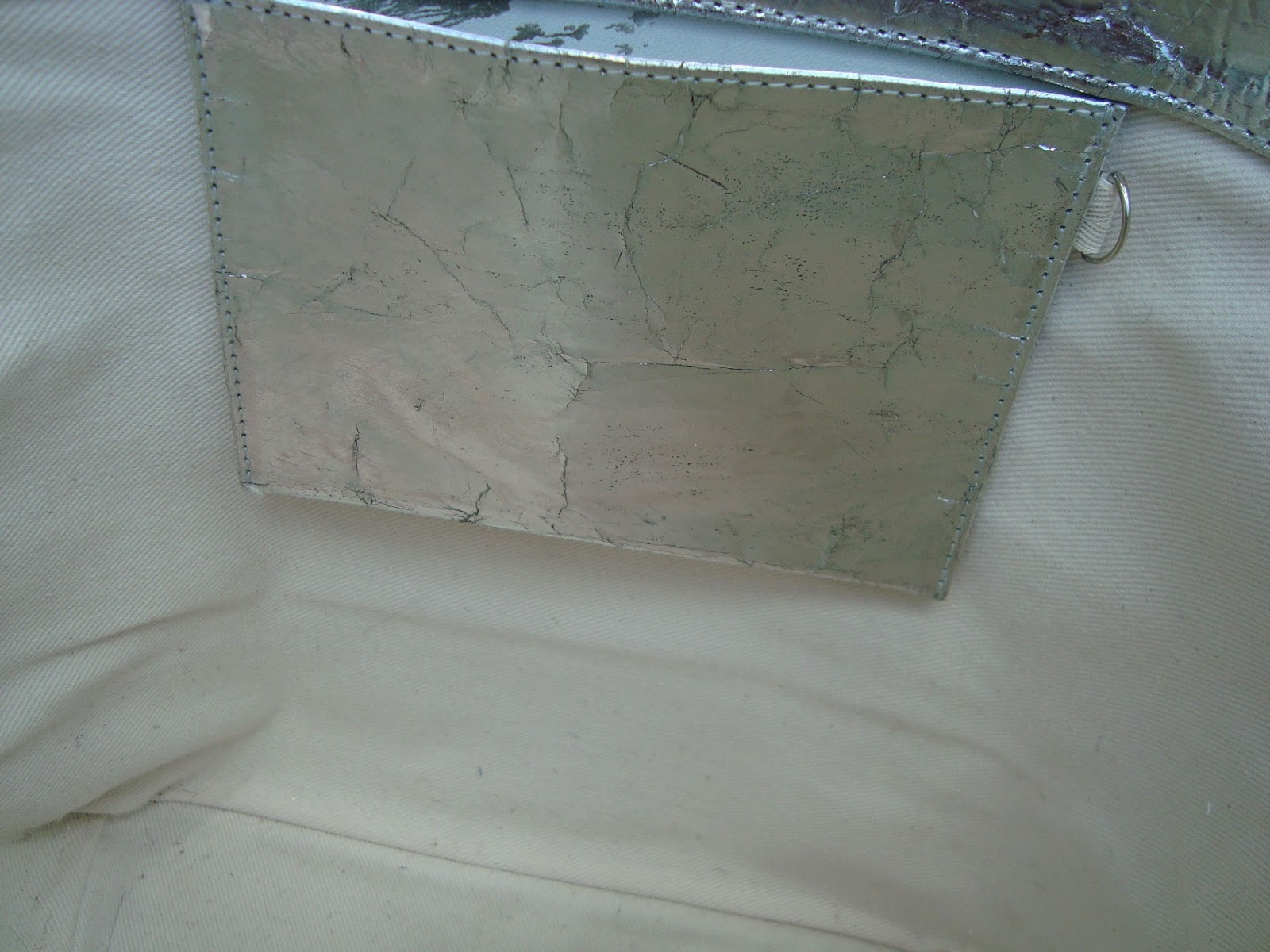 bcc7580d0f4 VANESSA BRUNO MEDIUM SILVER GOAT LEATHER CABAS with Sequins. Condition   Used, in excellent condition