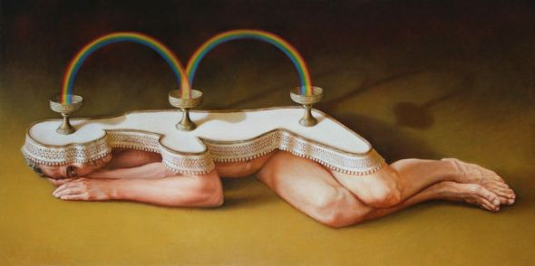 Baptiste Hersoc arte pinturas a óleo surreais macabras bizarro sombrio pesadelos