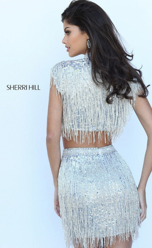 08b7548c49 2017 Sherri Hill 50564 Black Cap Sleeves Beaded Pattern Two Piece Short  Party Dresses - see. Shown in  Black