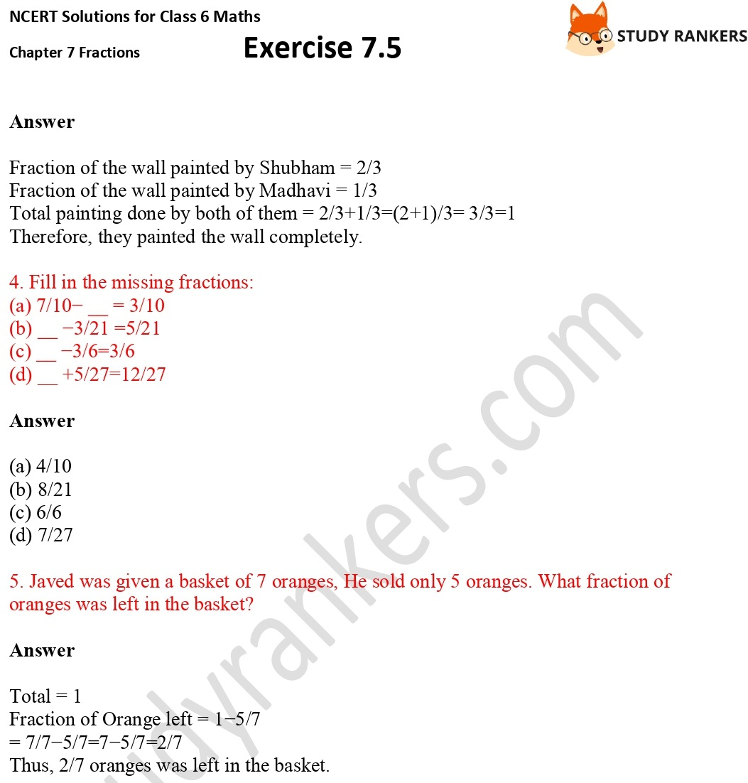 NCERT Solutions for Class 6 Maths Chapter 7 Fractions Exercise 7.5 Part 2