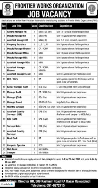 FWO Jobs 2021 for Assistant Managers, Deputy Managers, Managers, Surveyors, etc