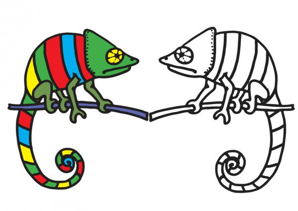 colorear dibujo de camaleón